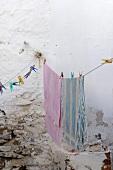 Bath towels hanging on clothesline