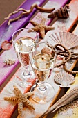 Glasses of sparkling wine and decorative seashells on multi-coloured wooden boards