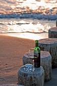 Enjoying a glass of wine at the beach