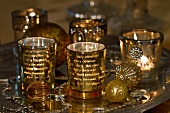 Gold Christmas decorations and tea light holders