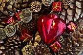 Christmas decorations and fir cones