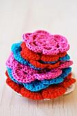 Crocheted, flower-shaped doilies