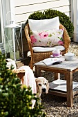 Tea break in garden - wicker chair with cushions and rustic side table in front of wood-clad house