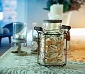 Shells in decorative jar
