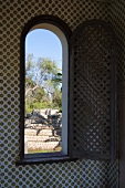View of Mediterranean garden through open window