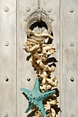 Starfish and weathered pieces of wood hanging on door knocker