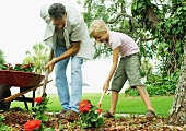 Man and girl planting flowers in yard