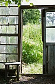 Open door of greenhouse