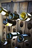 Wine rack with wine bottles