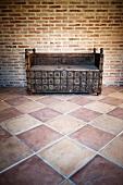 Rustic monastery bench