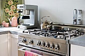 Modern stainless steel oven and range