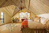 Master bedroom with old barn siding wood ceiling