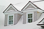 Detail dormers covered in snow