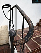 Detail worn wrought iron hand rail