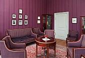 A living room with a purple suite, Sagadi Manor, Estonia