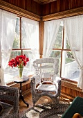 Nostalgic wicker chairs in living room