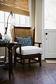 Contemporary wing back chair near home entrance