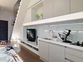 Modern kitchen with voodoo knife holder