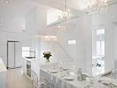 Marble dining area connected to kitchen