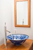 Blue designed porcelain bowl sink