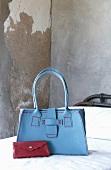 Hand-sewn leather handbag and purse