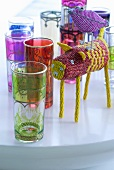 Colourful Oriental glasses and bead animal figurines