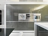 Contemporary kitchen cupboards with reflective doors and stainless steel fitted appliances