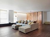 Loft-style interior with classic corner sofa