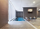 Contemporary building with indoor pool