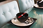 Contemporary Dining Table with Place Settings and Chopsticks