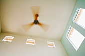 Modern Ceiling Fan with Wood Blades in Motion