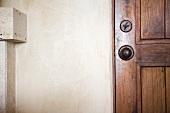 Detail of a oak wooden door
