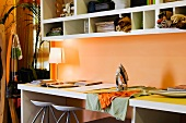 Work Desk with Orange Walls