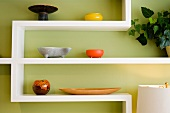 Contemporary Display Shelf with Colorful Pottery