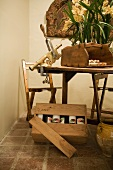 Wooden table and chairs with bar mounted cork remover