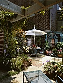 Garden terrace covered with climbers against brick house with many plants, planters, round table and delicate chairs