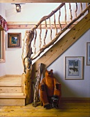 Unusual driftwood banister in stairwell