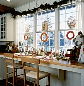 Kitchen window above long counter, festively decorated