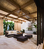 Contemporary outdoor patio with pocket doors