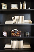 Blank books and decorations on wooden bookshelf