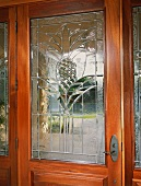 Front door with glass etching of pineapple