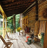 Wooden veranda of farm house