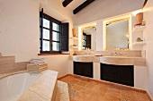 Large bathtub in corner of bathroom