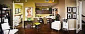 Contemporary hair salon with hardwood floors panoramic