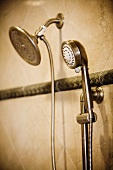 Detail of showerhead and detachable shower head