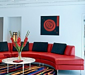 Living Room setting with red leather couch
