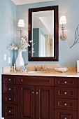 Contemporary bathroom vanity and sink with tropical theme