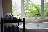 Selective focus modern bathtub near window
