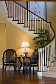 Sitting area near winding staircase