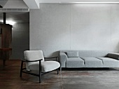 Simple gray couch and chair